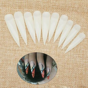 Pro Nail Art Salon 50pcs/10pcs ABS Fake Nail Loaded Salad Long Sharp Full Cover Whole Nail White Transparent Natural Color