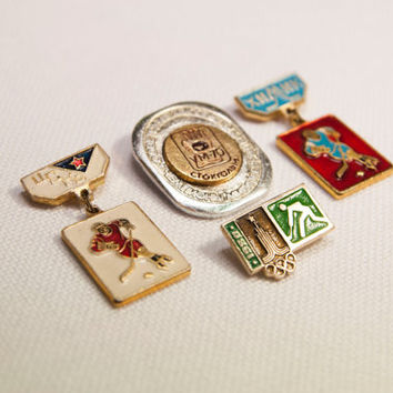 Pins badge hockey Stockholm 1970,  hockey team CSKA, CHEMIST, Hockey Tournament Winter Olympic Games in 1980 Moscow Sport