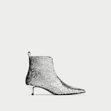 SEQUINNED HIGH HEEL ANKLE BOOTS DETAILS