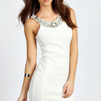 Sophie Embellished Neck Trim Bodycon Dress