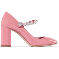 Miu Miu - Crystal-embellished patent-leather Mary Jane pumps