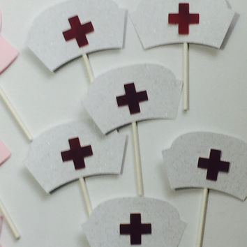 Pink NURSES SCRUBS  CUPCAKE toppers   , scrubs cupcake topper and nurses hat for graduation parties, hospital event , birthday celebration
