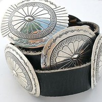 Hand Stamped Navajo Concho Belt Sterling Silver Black