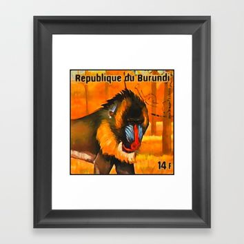 Mandrill Framed Art Print by lanjee