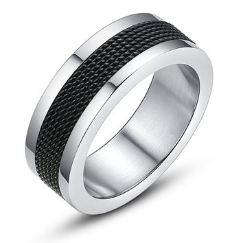 Stainless Steel Black Mesh Ring