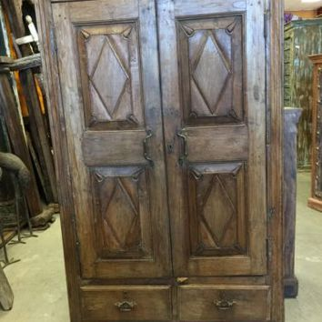Antique Indian Cabinet CHEST Eclectic Furniture Armoire FARMHOUSE TEAK WOOD 18C