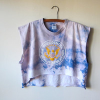 Presidential Physical Fitness -- Size XL -- Bleached Out Tye Dye Crop Top Muscle Tee, Workout Fashion / Soft Grunge Style