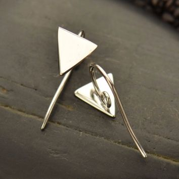 Sterling Silver Triangle Hook Earrings with Hidden Loop