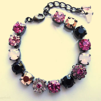 pink and black swarovski crystal tennis bracelet- better than sa b7b5168fc97b