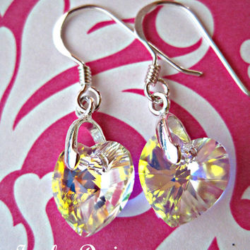 AB Swarovski Crystal and sterling silver Earrings for Flower girls, communion, gifts and birthday gifts