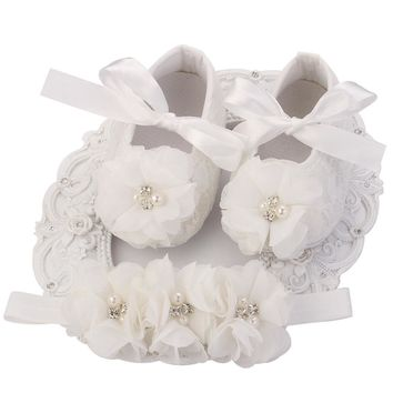 Ivory Newborn Booties Baby Girls Shoes Toddler;Infant Girls Rhinestones First Walker Baby Shoes Ballerina;Baby Girls Baptism Set