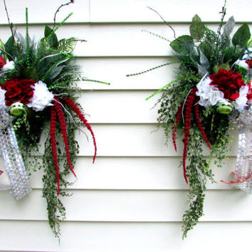 Christmas swags for double doors, Christmas wreath, elegant wreaths, designer wreaths, holiday wreaths, red & white hydrangeas, silver