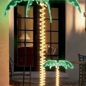 7' Tropical Lighted Holographic Rope Light Outdoor Palm Tree
