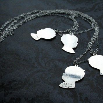 Custom profile silhouette necklace sterling by bLuGrnDesign