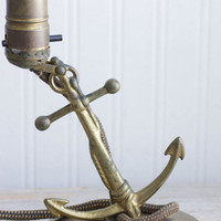 Vintage Brass Table Lamp, Nautical Ship Anchor, 1940's 40s Old World Decor, Mid Century Desk Light