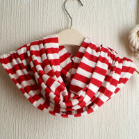 Striped Infinity scarf,  Spring scarf, in Red and white jersey knit, light and cozy. Fun circle scarf. READY To SHIp.