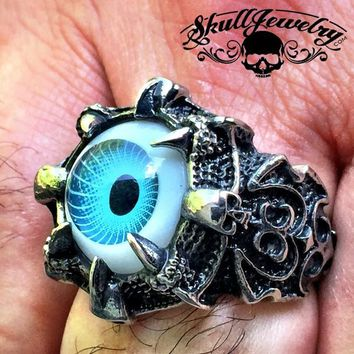 BLUE 'All Seeing Eye' Gothic Skull Dragon Ring (289)