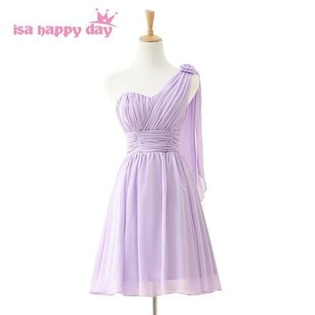 new arrival short formal light purple lilac one shoulder sweetheart prom woman dress to party dresses 2018 real photo H3845