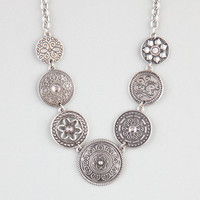 Full Tilt Etched Disc Necklace Silver One Size For Women 24280014001