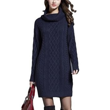 [15675] Cowl Neck Cable Knit Sweater Dress