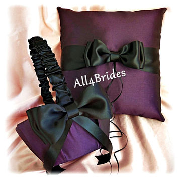 Eggplant purple and black weddings ring bearer pillow and flower girl basket, cushion and basket set