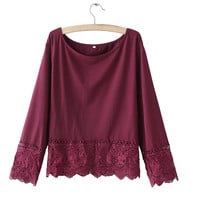 Women lace crop tops casual loose solid sweet shirt short blouses Blusas Femininas elegant O-neck streetwear cute tops LT706