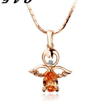 2017 Fashion Gold Plated Crystal Angel Wings Long Chain Necklace/Ahiny Butterfly Fairy Necklace Jewelry Women+Free Shipping