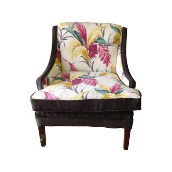 Pre-owned Vintage Floral & Brown Velvet Upholstered Armchair