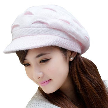 LOCOMO Women Girl Slouchy Cut Openings Fluffy Knit Beanie Crochet Rib Hat Brim Cap Winter Warm FFH004PNK Pink