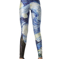 Vincent Van Gogh Leggings Starry Night Leggings Yoga Leggings Printed Leggings Spandex Leggings Running Leggings workout leggings Digital Print Pant = 1933268164