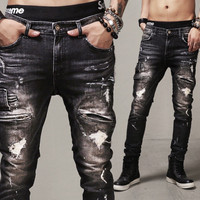 Black Premium Denim Distressed Biker Jeans