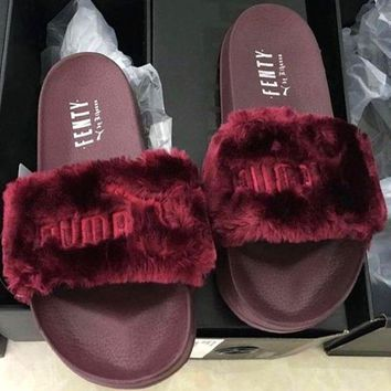 Puma Rihanna Leadcat Fenty Fashion Fur Slide Sandal Slipper Shoes-2