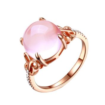 2017 Elegant And Charming Light Purple Hibiscus Stone Butterfly Lady Rings For Party Wedding Birthday Present