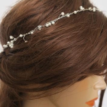 Delicate Pearl And Crystal Bridal Headband KASSIA