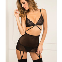 Rene Rofe Lace Top Garter Chemise & G-string Set Black S-m