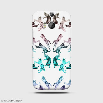 HTC One M8 Case Hipster Cat Meow Pattern
