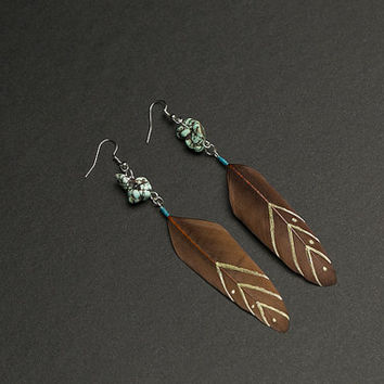 Brown earrings Feather earrings with african turquoise gemstone Chevron pattern Native american Ethnic earrings Tribal earrings Summer