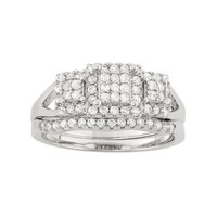 Cubic Zirconia Cluster Halo Engagement Ring Set in Sterling Silver (White)