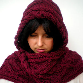 CabledFringe Burgundy Bordeaux Hood Scarf soft mixed Wool Hooded Scarf Hand Knit Chunky Cabled Scarf Hood NEW COLECTION