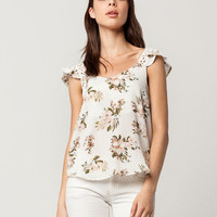 BLU PEPPER Floral Crochet Womens Top