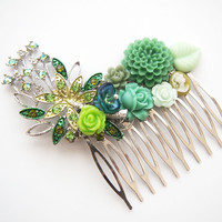 glamasaurus ♥Kawaii Cute Sweet Jewelry + Accessories ♥ — Emerald Spring Rhinestone Hair Comb, Prom Bridal