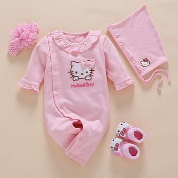 4pcs/Set New Born Baby Girl Rompers Clothes Cotton Cute Embroidery Baby Toddler Romper+Headband+Sock+Hat Meisje Vestido Batism