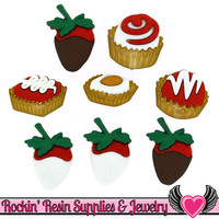 Jesse James Buttons 8 pc CANDY BOX Valentine's Buttons OR Turn them Into Decoden Cabochons