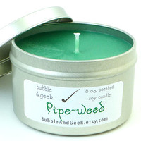 Pipe-weed Scented Soy Candle Tin - 8 oz. tin - green - tobacco, mahogany, vanilla, brown sugar - Lord of the Rings