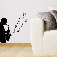 Wall Decal Vinyl Sticker Saxophonist Musical Instrument Art Design Room Nice Picture Decor Hall Wall Chu1315