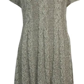 Style & Co. Women's Cable Knit Metallic Neck Tunic Sweater