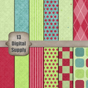 Christmas Digital Paper - Blue, Red and Green Christmas, Polka Dot, Argyle Digital Scrapbook Paper Instant Download Printable Commercial Use