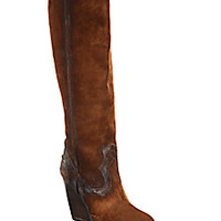 Frye - Cece Seamed Suede Over-The-Knee Wedge Boots - Saks Fifth Avenue Mobile