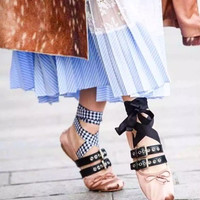 Fashion Summer Week Celebrity Flat Ballet Shoes Punk Style Lace Up Metal Buckled Bowtie Flats Casual Shoes Zapatos Mujer