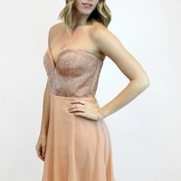 Metallic Sweetheart Rose Gold Strapless Dress | WOW Couture GOLD